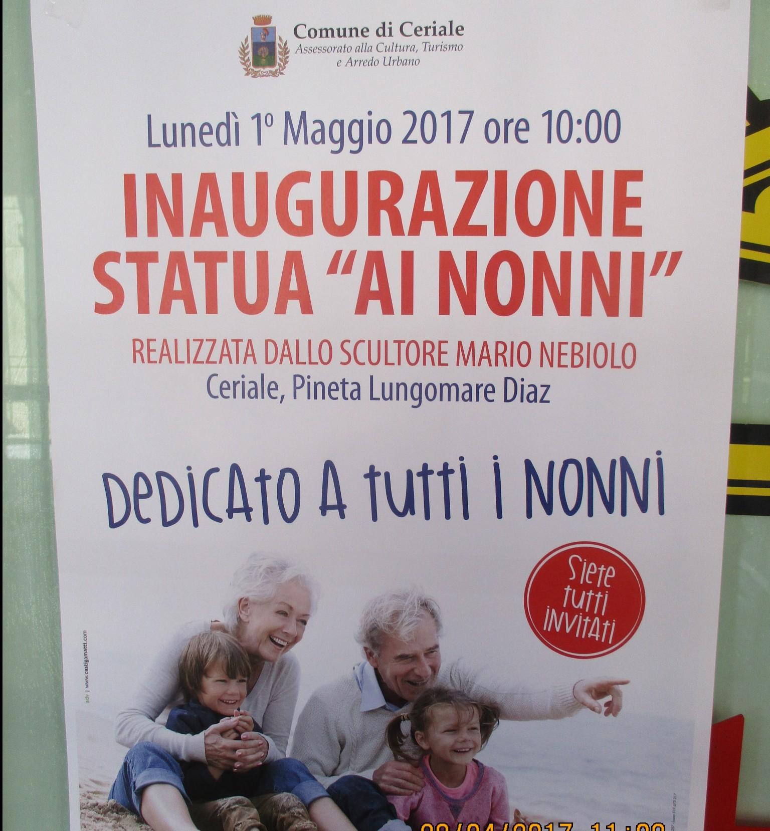 Ceriale (da amare) inaugura e dedica un monumento ai nonni. E' il primo in Liguria
