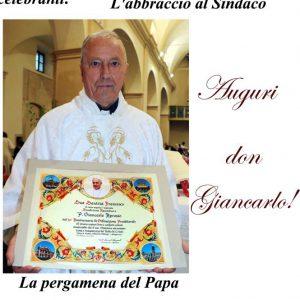 Villanova festeggia don Giancarlo: 50° di sacerdozio. Pergamena dal Vaticano